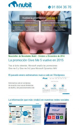 newsletter trimestral de Nubit Consulting, octubre-diciembre 2014